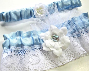 Blue  and White Bridal Garter set of two, something blue
