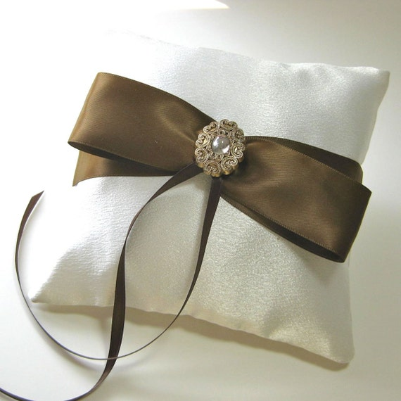 Ivory Satin Ring Bearer Pillow with Brown Satin Bow