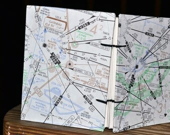 Small Montreal, Quebec Air Map Coptic Stitched Journal