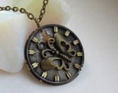 Steampunk butterfly necklace - with vintage watch face.  Gift under 25 dollars