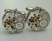 Cufflinks with the smallest round vintage watch movements. Vintage upcycled mens Cuff Links, Gift under 25 Dollars