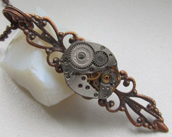 Steampunk Gothic necklace  vintage watch movement Costume Jewelry for Her Gifts for teens Goth necklace Goth pendant