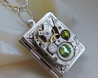 Steampunk book locket necklace with watch  movement and Swarovski crystals, Birthday, women gift ideas photo locket necklace silver locket