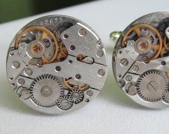 Steampunk Watch Movement Cufflinks Wedding Groom Mens gift ideas Cuff links Best Man Gift for Him Birthday gift Silver cufflinks Mens gears