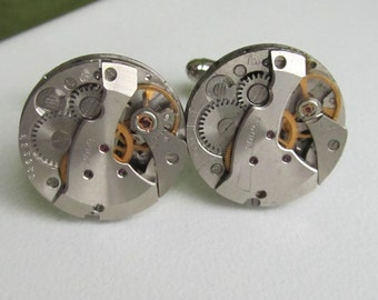Steampunk Cufflinks with small round vintage watch movements Upcycled mens Cuff Links Geeky formal wear Steampunk Fashion geek accesories