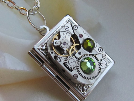 Steampunk book locket necklace with vintage watch  movement and real Swarovski crystals