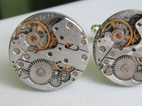 Steampunk Cuff links with small vintage watch movements Mens gears gift for a men Father of the bride Clockwork Cuff links