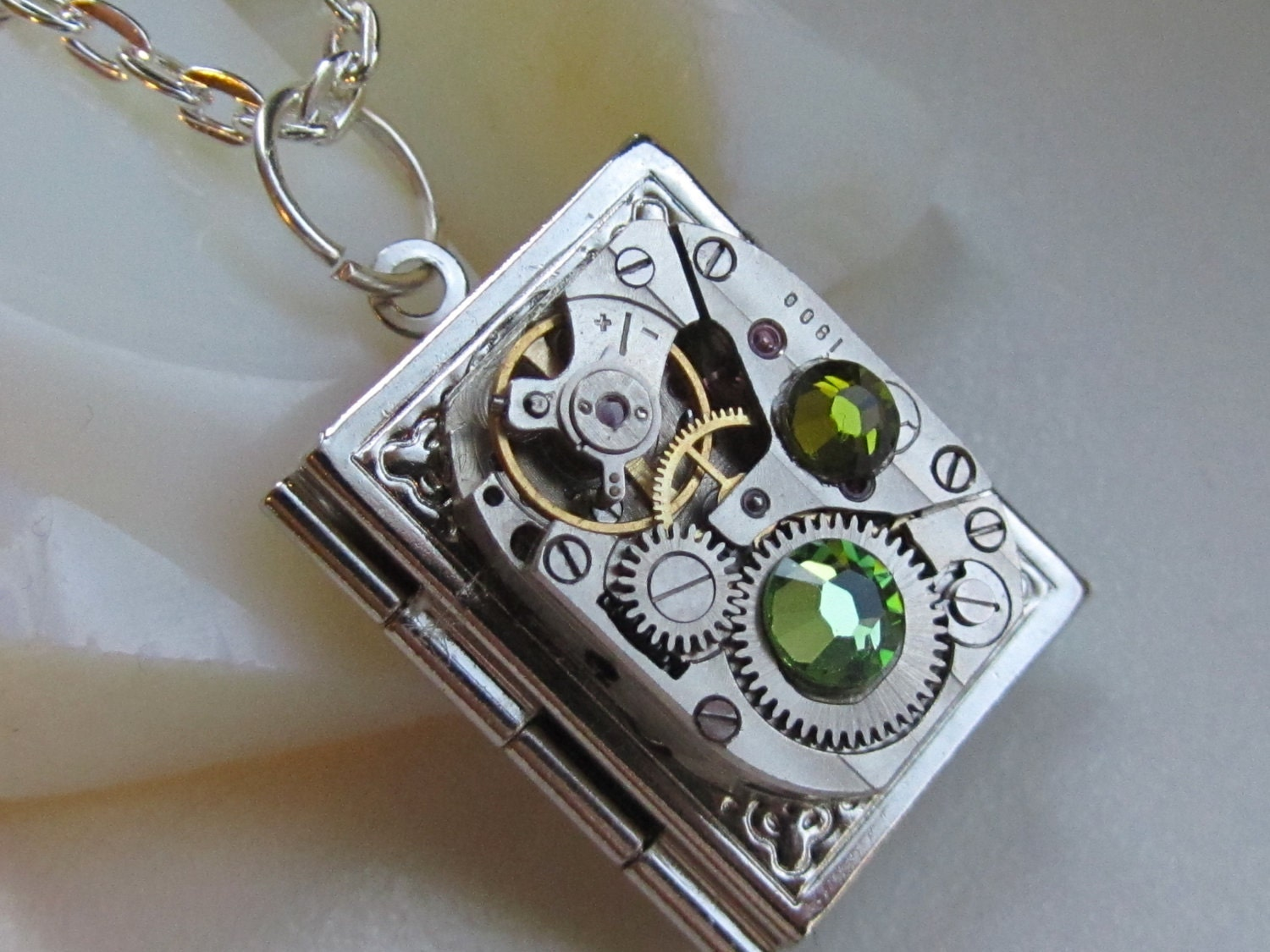 Steampunk book locket necklace watch movement and swarovski zoom aloadofball Gallery