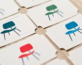 Ticket Shaped Tags with Retro School Chairs Set of 8