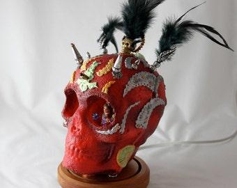 Sugar Skull Devil with LED and Archangel Inside