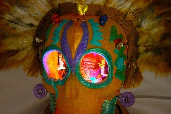 Aztec God of Holy Wars Sugar Skull with LED