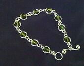 Framed Olivine Crystal Bracelet, Green Crystal Bracelet, Silver Bracelet, Crystal Bracelet