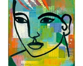 modern abstract collage portrait ORIGINAL PAINTING cut paper    by Elizabeth Rosen