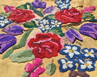 vintage hooked rug unfinished HUGE offered by Elizabeth Rosen