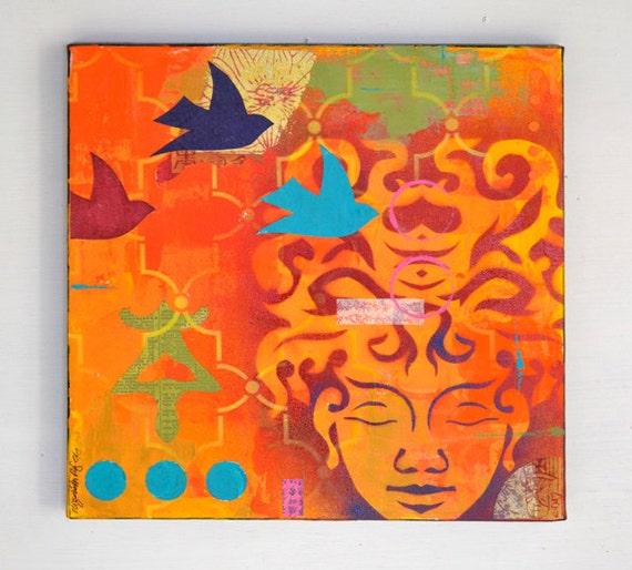 buddha art ORIGINAL PAINTING collage morocco asian chinese type zen birds by Elizabeth Rosen