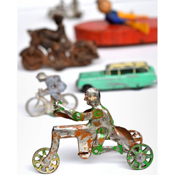 vintage toys game parts bicycle motorcycle  8x10 PRINT  'Men on a Mission' by Elizabeth Rosen