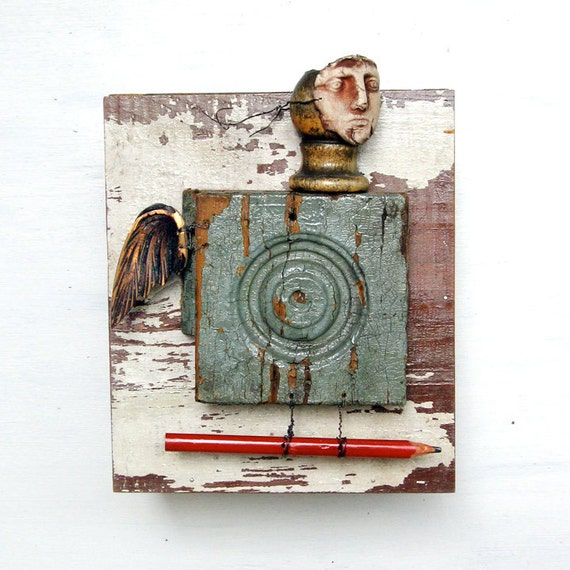 BIRD BOY  an abstract mixed media assemblage primitive and unusual  by Elizabeth Rosen