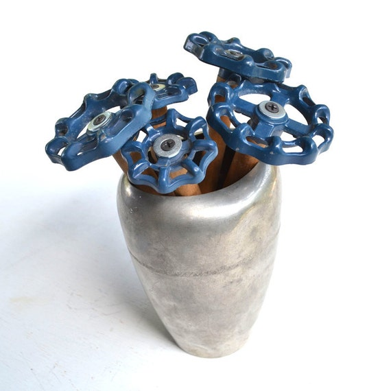5 steampunk blue flowers faucet knobs with vintage vase  offered by Elizabeth Rosen