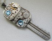 Steampunk Key necklace - with small vintage key, 2 vintage watch movements and Swarovski crystals   Gift under 35 Dollars