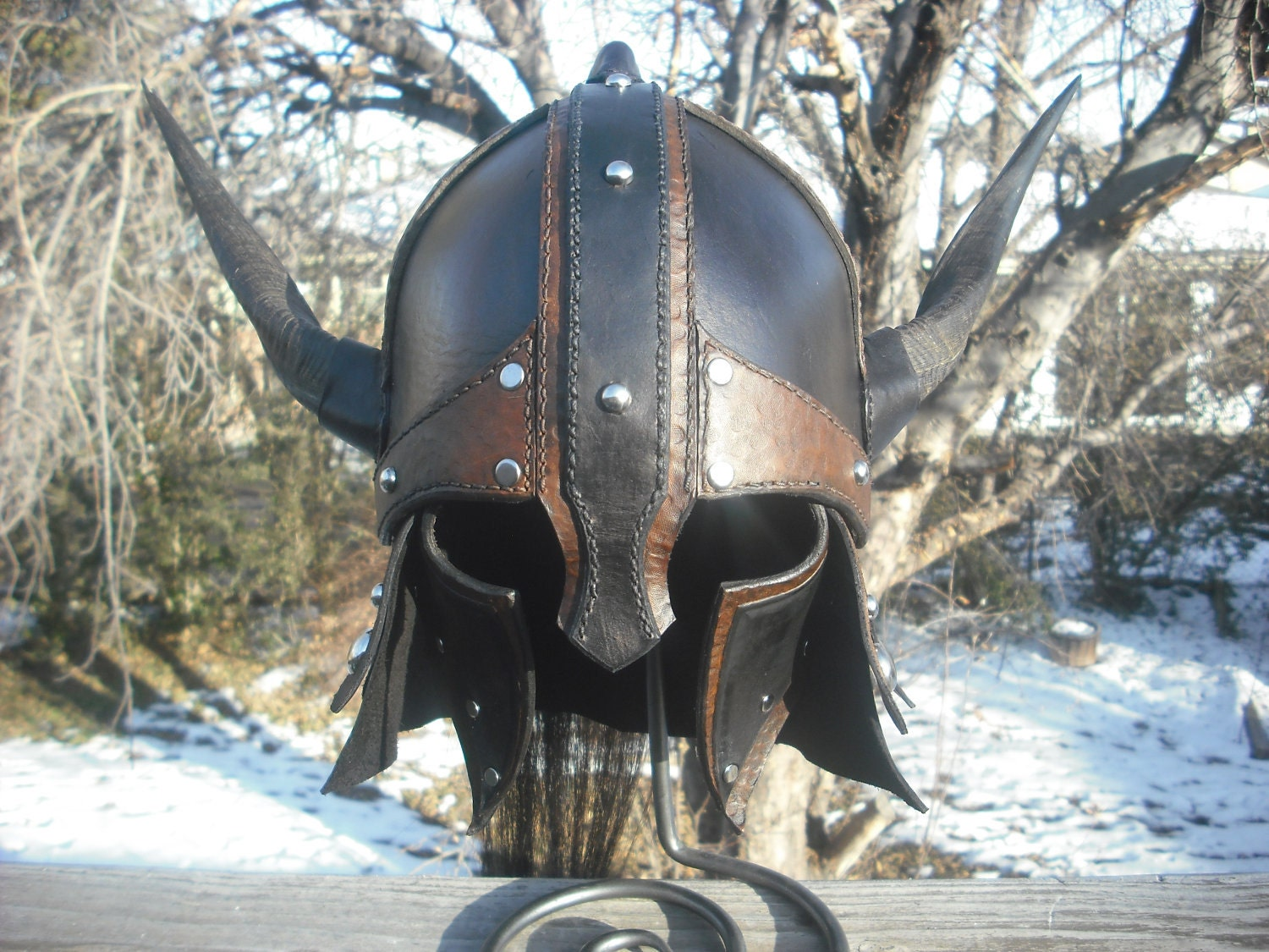 Leather Horned Barbarian Viking Gladiator Helmet Helm