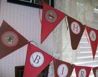 Sock Monkey Printable DIY Happy Birthday Banner