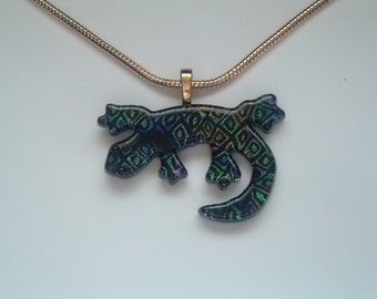 Dichroic Fused Glass Gecko Pendant