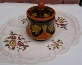 Vintage Khokhloma Russian Folk Art Wood Lidded Jar, Black and Red Hand Painted Lacquer.