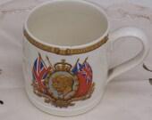 Vintage Myott Silver Jubilee George V and Queen Mary Mug, Vintage Ceramic, Vintage Mug, UK Seller