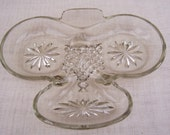 Vintage Clear Glass 3 Section Serving Tray/Dish