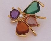 Vintage Bug/Insect/Beetle/ Brooch, Gold Tone Brooch, Multicolor Brooch