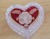 Vintage Enesco Ruby Rose Heart Jewelry Box, German Crystal Jewellery Box, Rare Box, Vintage Crystal, UK Seller