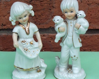 Vintage Figurine, Cute set of Boy and Girl with lamb and flowers, UK Seller
