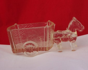Vintage Clear Glass Horse Drawn Two-Wheel Cart Candy Dish or Container, Vintage Horse Candy Dish, UK Seller