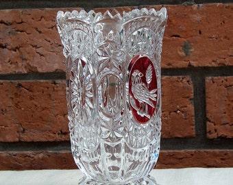 Vintage Hofbauer Byrdes Bird Ruby Flashed Crystal Vase, 1980s, Crystal Vase, UK Seller