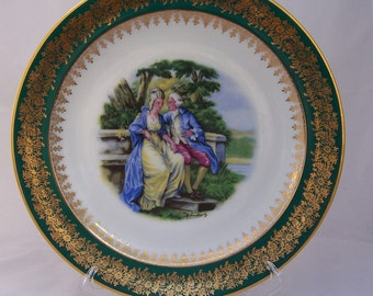 Vintage French Limoges Green and Gold Romance Plate, Vintage Bone China, UK Seller