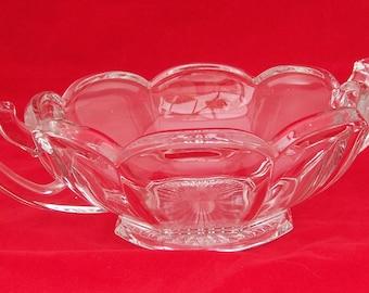 Vintage Chippendale Krys Tol Handled Bowl, Chippendale Art Deco Glass, 1910-1930s Vintage
