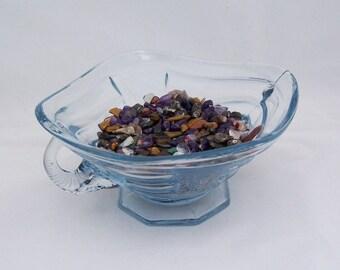 Vintage Blue Glass Handle Dish, Bowl, Vintage Blue Glass Candy Dish