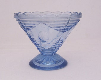 Vintage Pressed Blue Glass Ice Cream Cup, Sherbet Cup, Candy Dish, 1950s