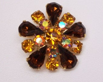 Autumn Colors Amber Yellow  Colored Rhinestone Pin Brooch, Vintage Brooch, Costume Jewelry