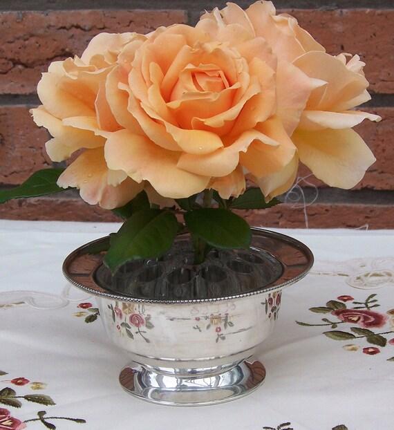 Vintage Silver Plated Rose Bowl, Vintage vase, Vintage Planter, Vintage Home Decor