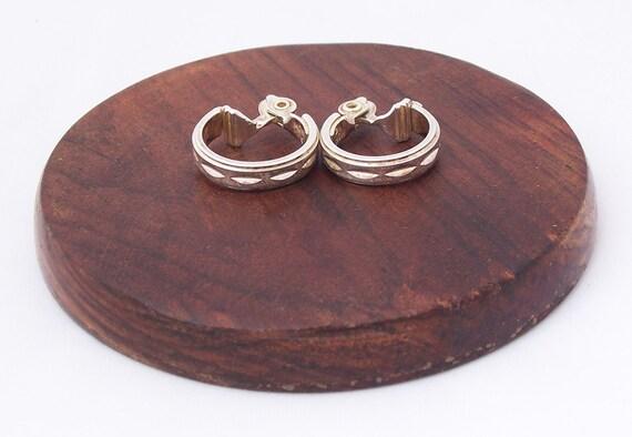 Vintage Monet Jewelry, Vintage Hoop Monet Silver Tone Ear Clips