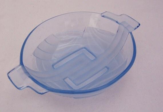 Vintage Blue Frosted Glass Handled Serving Bowl Candy Dish, Vintage Blue Glass, UK Seller