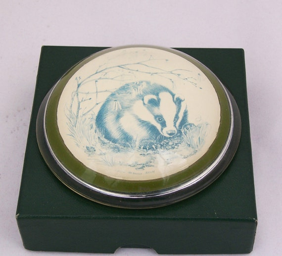 Vintage Glass paperweight, Badger Glass Paperweight, Rare Paperweight