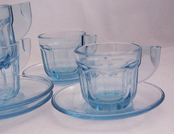 Vintage Blue Espresso Cups with Saucer,  A Set of 4, Blue Glass Set, Vintage Cups, Art Deco Glass