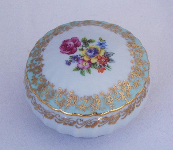 Vintage Porcelain Trinket Box, Dresden Trinket, Box, German Trinket box