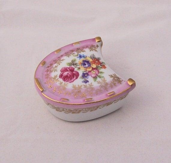 Vintage Pink Horseshoe Shaped Dresden China Trinket Box