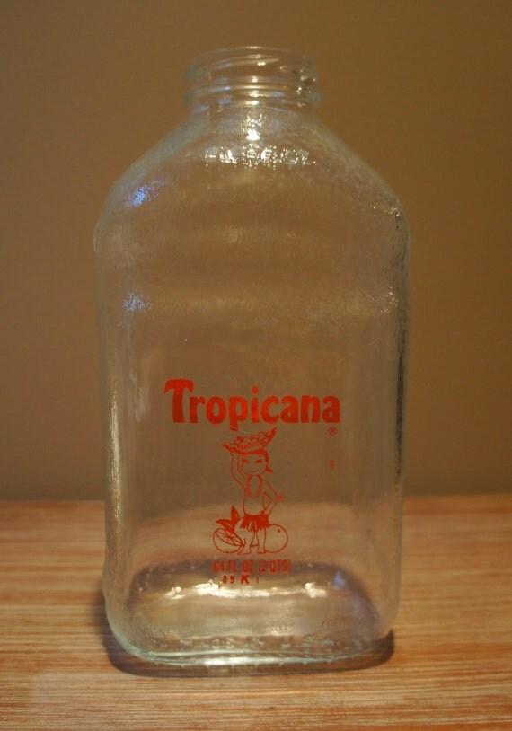 SALE Glass Tropicana Orange Juice Bottle