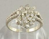 Diamond Ring - 14K White Gold and Diamonds with Floral Design - Gold and Diamond Cocktail Ring - Diamond Statement Ring - Anniversary Gift
