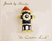 Fire Hydrant Brooch with Red White and Blue Enamel - Vintage Costume Jewelry - Jewels by Stanlee Pin - Gift for Fireman's Mom / Wife