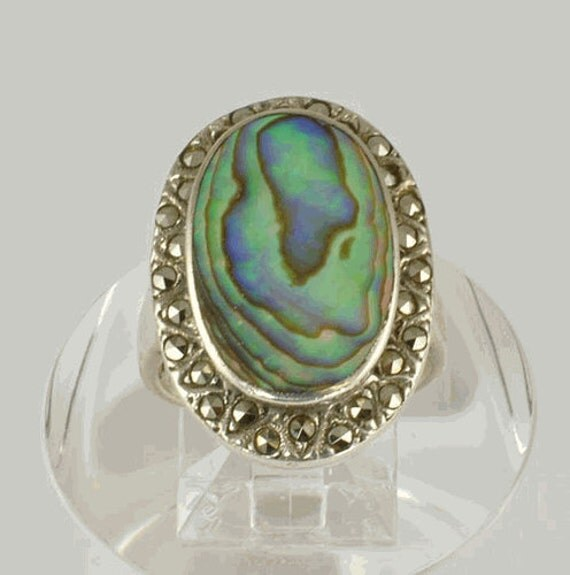 Sterling Silver Ring with Paua Shell and Marcasite - C1980